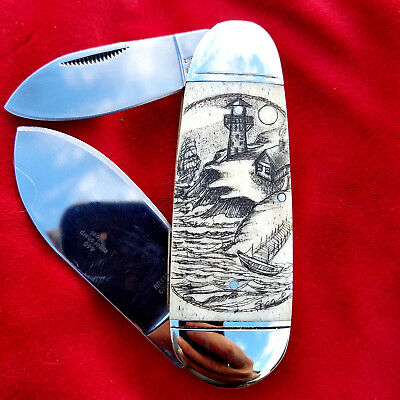 Original Double Sided Nautical Scrimshaw Art by Shar, Two Blade folding knife