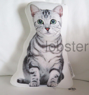 PRETTY KITTY CAT PILLOW White Gray Photograph on fabric 14 inch zipper cover
