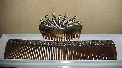 Antique tortishell and stirling silver Comb and Slide