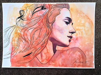 Velkova Signed Limited Edition Print Erotic Art Pinup Female Sexy Portrait Lips