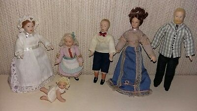 Dolls House Family 6 Dolls Man Lady Maid Baby Girl Boy Doll 12Th Scale Furniture