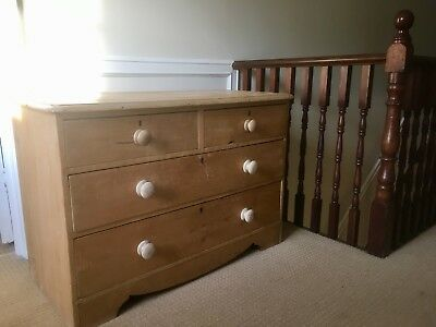 Vintage Victorian Antique Pine Chest Of Drawers