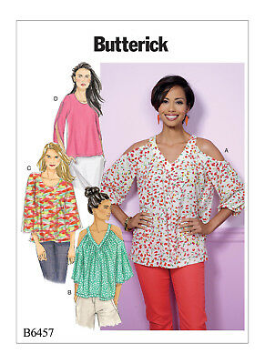 3e0a3210 Butterick Sewing Pattern 6457 Misses Sz 6-14 Loose Fitting Tops, Cold  Shoulder