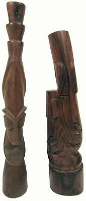 Entwined Lovers & Tribal Head Hand Carved Wood Fiji 2 Statues