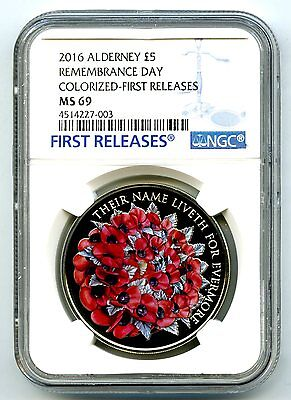 2016 Alderney £5 5Pnd Great Britain Ngc Ms69 Remembrance Poppy First Releases !