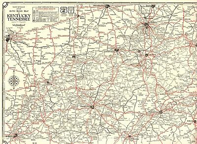 1930 Antique Kentucky Tennessee State Map Auto Trails Road Map RARE SIZE 4418