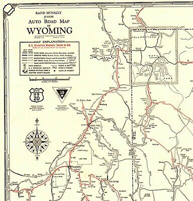 1930 Antique Wyoming State Map Auto Trails Road Map RARE Poster SIZE 4419