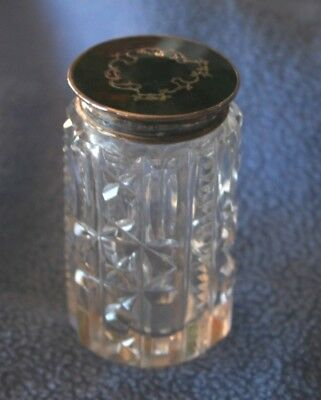 STERLING SILVER & TORTOISE SHELL TOPPED JAR ENGLISH HALLMARKED London 1929
