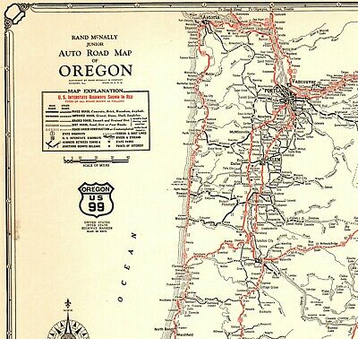 1932 Antique Oregon State Map Auto Trails Road Map RARE Poster SIZE 4427