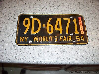 1964 1965 New York Passenger Auto License Plate 9D 6471 New York Fair