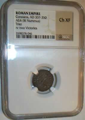 NGC Ch XF Roman Empire Coin: Constans AD 337-350 AE4 Trier rv Two Victories