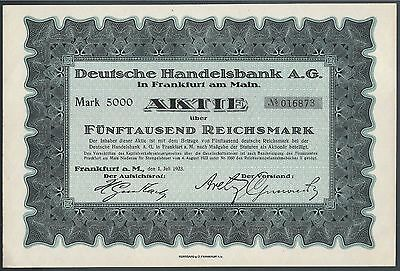1923 German Handelsbank A.G. Bond 5000 Mark Frankfurt WITH ALL COUPONS (RARE)
