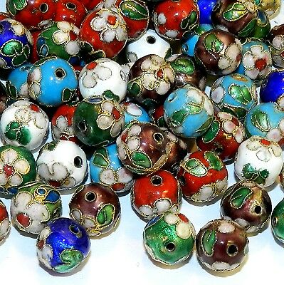CL176p Assorted Color with Gold 11mm Round Enamel on Metal Cloisonne Beads 24pc
