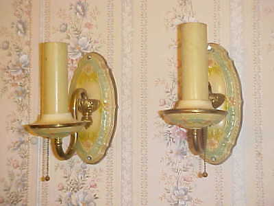 Pair Of Brass Wall Lights Antique