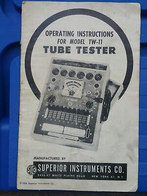 instruction manual for Superior instruments tube tester model TW 11