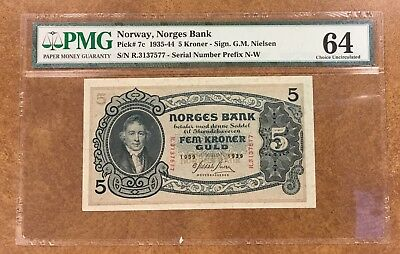 {BJSTAMPS} Norway P-7c 1939  5 kroner note  PMG 64 choice uncirculated