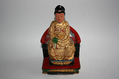 Chinese Wooden Carved Painted Woman Lady Figurine Statue