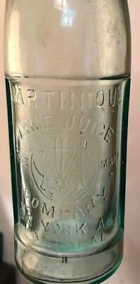 "Martinique Lime Juice Co Ny & Montreal Paneled 13"" Bottle Excellent Lgt Green"