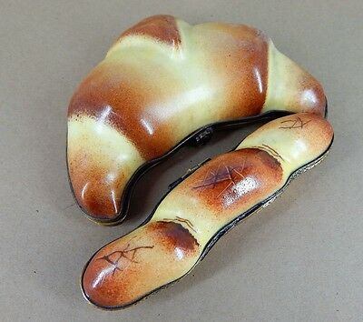 Limoges Hinged Trinket Box, Large French Croissant & Bread Loaf - Hand Painted