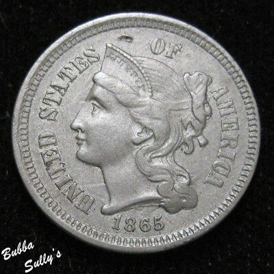 1865 III Cent Nickel <> XF Details