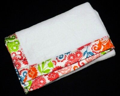 Vera Bradley Baby Lola Pattern Satin Trim White Security Blanket Plush Lovey