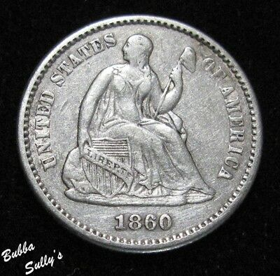 1860 Seated Liberty Half Dime <> V-3b <> Repunched Date