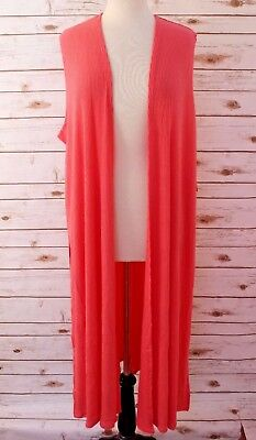 XL LuLaRoe Joy Duster Vest Soft Ribbed Stretchy Solid Coral NWT