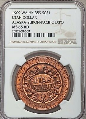 1909 Alaska Yukon Pacific Expo Utah So-Called Dollar - HK-359 - NGC MS 65 RD