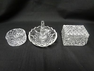 Annahutte - West German Lead Crystal - 3 piece Dresser/Ring/Jewelry Set