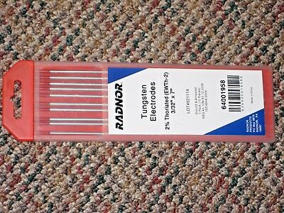 "10 Radnor 64001958 3/32"" X 7"" Ground 2% Thoriated Tungsten Electrodes EWTh-2 NIB"