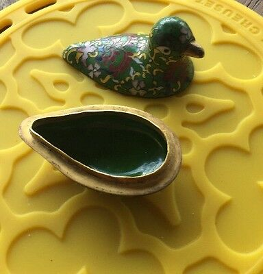Vintage Brass Bronze Dove Bird Painted Brass 2/ Pieces Covering
