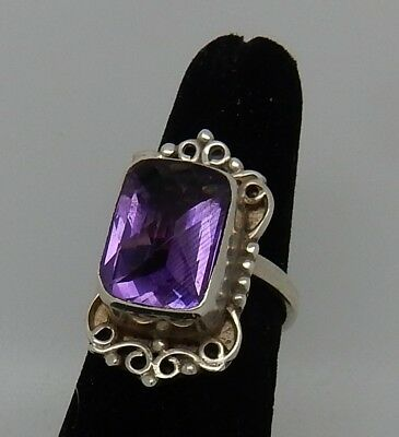Vintage Signed Sterling 14 MM Amethyst Faceted Cushion Cut Ring SZ 7.25 England