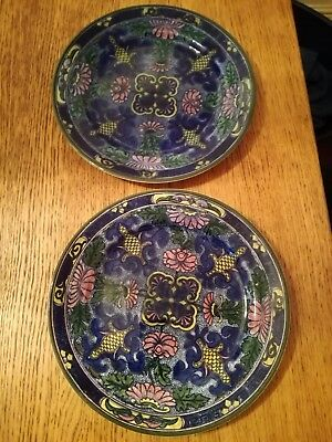 Antique 1930's Royal Doulton Plates Cobalt Blue  High Gloss Hand Painted