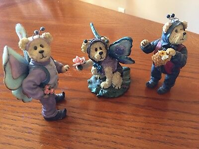 Lot Of 3 Boyds Bears Figurines 3 Butterfly 1 Lady Bug