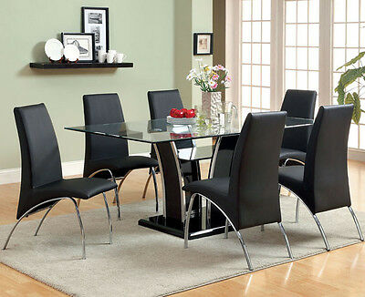 NEW 7PC TUCOLA MODERN GLASS TOP CHROME BLACK or WHITE DINING TABLE SET CHAIRS
