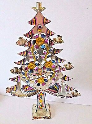 Vintage Mexican Tin Christmas Tree Folk Art Candle holders butterflies flowers