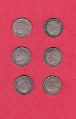 GREAT BRITAIN: 6 SILVER Three Pence Coins - Various Dates: Grading VG thru XF!