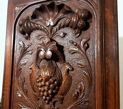 Hand Carved Wood Panel Antique French Grapes Cornucopia Architectural Salvage