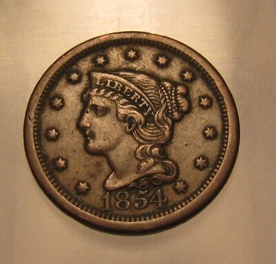 1854 Braided Hair Large Cent Penny - AU Condition - 88SU