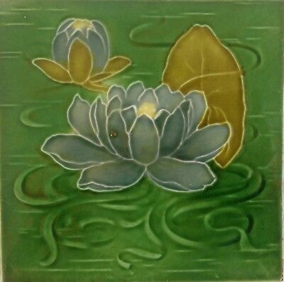 Antique Majolica Tube Lined Water Lily Tile (no. 5)
