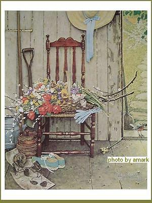 "Norman Rockwell Poster Art Print SPRING FLOWERS 1969 14 1/2"" x 11 1/4"""