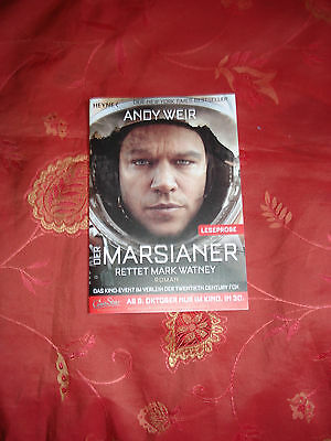 Der Marsianer Rettet Mark Watney  Andy Weir Movie Buch Leseprobe Neu !