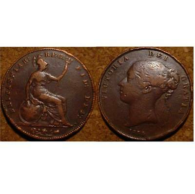 Old British Victorian Large Copper Penny 1854 Great Britain****