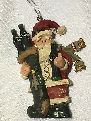 Christmas Ornament Kurt Adler Coca-Cola Santa Claus Bottle 1998 Resin NEW