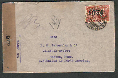 Uruguay WWII examined by 6105 censor cover Bianchi & Sales Montevideo to Boston