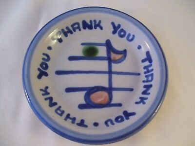 M.A. Hadley Pottery Country Blue Scenes Thank You Musical Note HP Coaster USA