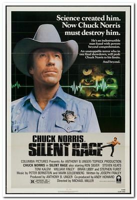 SILENT RAGE - 1982 - original 27x41 movie poster - CHUCK NORRIS, RON SILVER