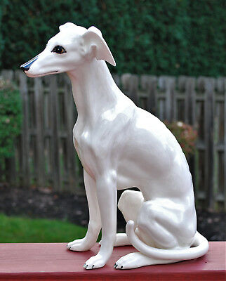 """Vintage 15.5"""" Ceramic Porcelain Greyhound Whippet Dog Statue Hand Painted Italy"""