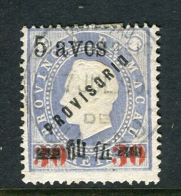 MACAU;  1894 Scarce Luis issue fine used surcharged 5/30/200r. value