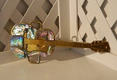 Beautiful NEW Abalone Shell Solid Brass Acoustic Guitar Shaped Belt Buckle